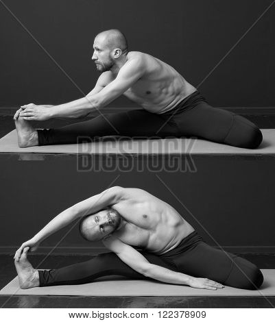 A set of exercises for stretching. Young man with naked torso is doing tilt to the toes on the mat** Note: Visible grain at 100%, best at smaller sizes