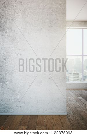 Close up of concrete wall in room with wooden floor and window with view. Mock up, 3D Render