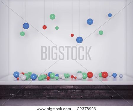 Storefront with colorful balloons in new shop interior. 3D Render