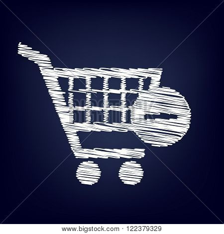 Vector Shopping Cart Remove from Cart Icon. Chalk effect on blue background