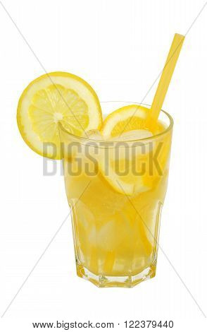 popular cooling drink lemonade in a tall glass isolated