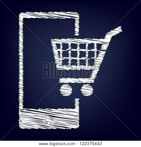 Shoping on smart phone sign. Chalk effect on blue background