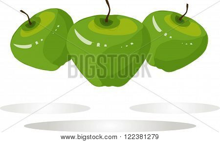 Green apples, brown roots on white background, shadows, hand drawing, painting. Healthy eating, fruit, organic, packaging design, product packaging, product label, design elements, clip art, vector, EPS, JPEG