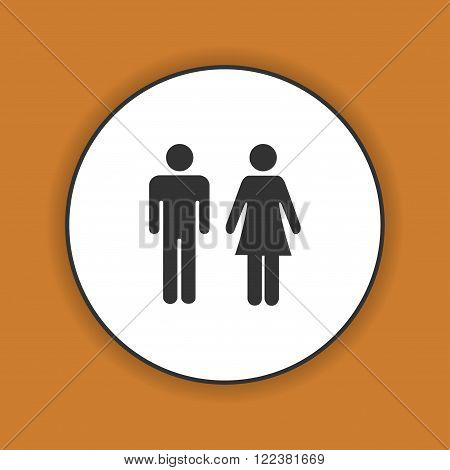 Vector man and woman icons toilet sign restroom icon minimal style pictogram