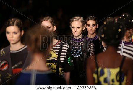 ISTANBUL, TURKEY - MARCH 16, 2016: Models showcase the latest creations of DB Berdan in Mercedes-Benz Fashion Week Istanbul