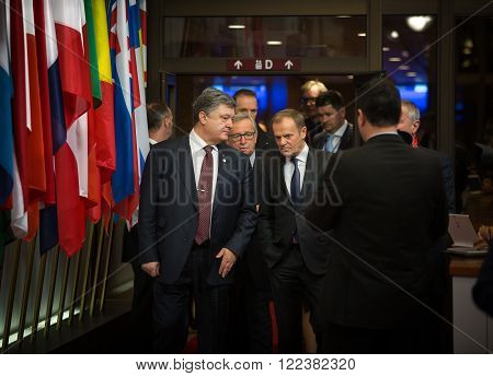 Petro Poroshenko, Jean-claude Juncker And Donald Tusk