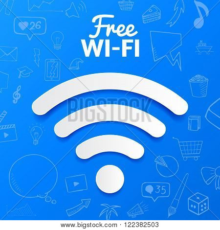 Vectoe free wi-fi signal isolated. abstract illustration with set of doodle icons hand drawn