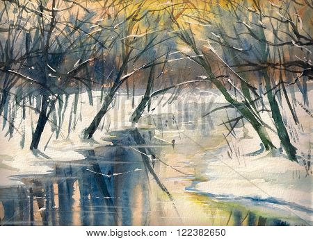 Watercolor painting of winter landscape:river in forest during sunset