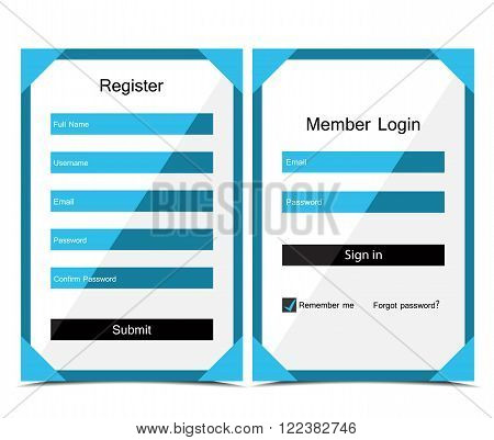 Vector Registration and login form, flat UI design