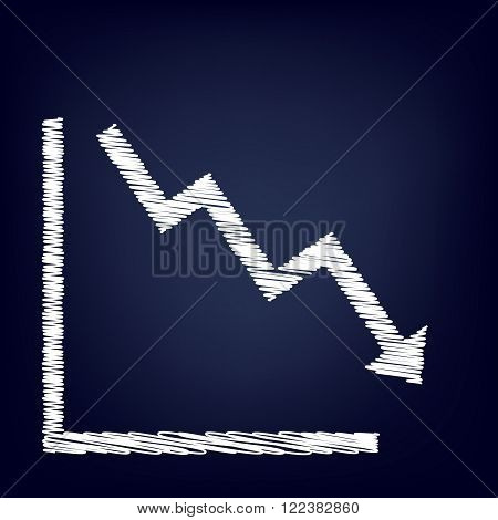 Arrow pointing downwards showing crisis. Chalk effect on blue background