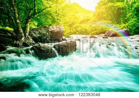 water fall motion blur of water nature background