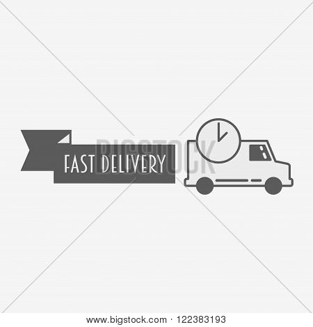 Fast Delivery Icon, Logo, Sign Template. Silhouette Shipping Truck Isolated On White Background Vect