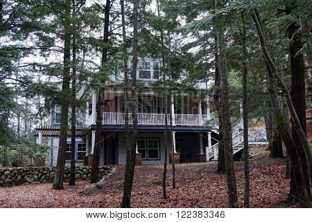 A large home in the woods along Glenn Drive in Harbor Springs, Michigan.
