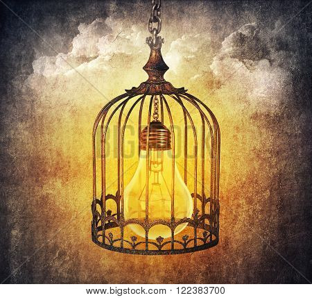 Light bulb locked in a old cage. Locked idea concept