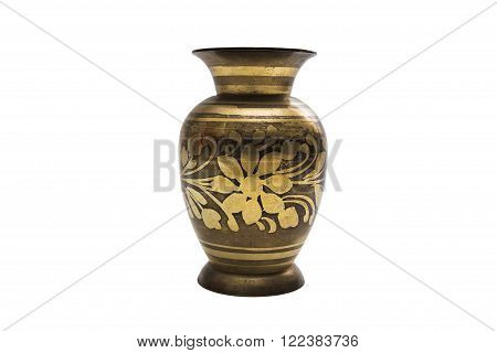 Antic gold engraved dyed metal vase in oriental style with a floral pattern on isolated background