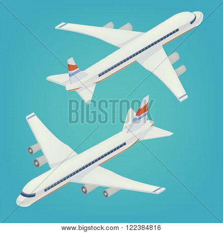 Passenger Airplane. Passenger Airliner. Airplane freight. Isometric Concept. Transportation Mode. Aircraft Vehicle. Vector illustration