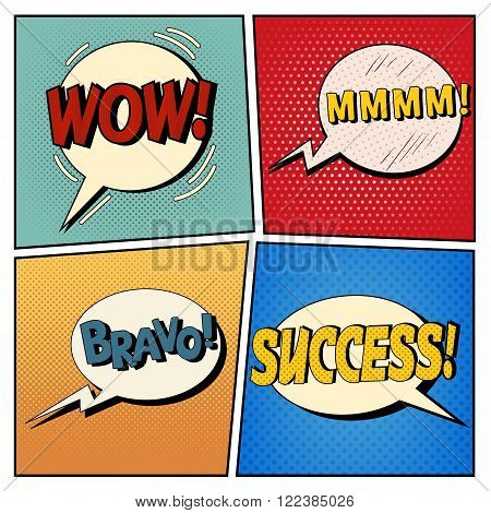 Comic Bubbles Set. Expressions Wow Mmmm Bravo Success. Halftone Background. Pop Art. Vector illustration