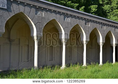 Fragment of Synagogue in the old Jewish cemetery on the outskirts of St. Petersburg Russia.