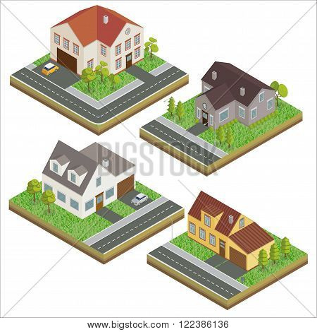 Modern Houses. Modern Home. Isometric Concept. Real Estate. Cottage. Isometric House. Computer Icon. Modern Scandinavian Style. Vector illustration