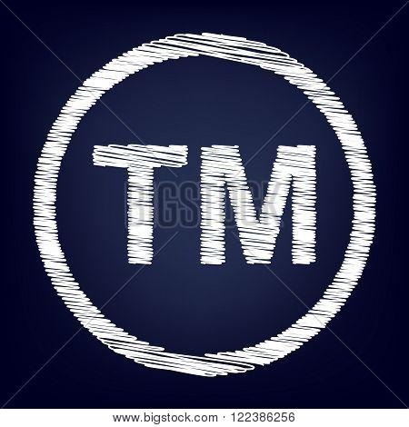 Trade mark sign. Chalk effect on blue background