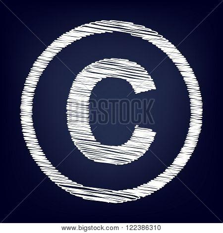 Copyright sign. Chalk effect on blue background