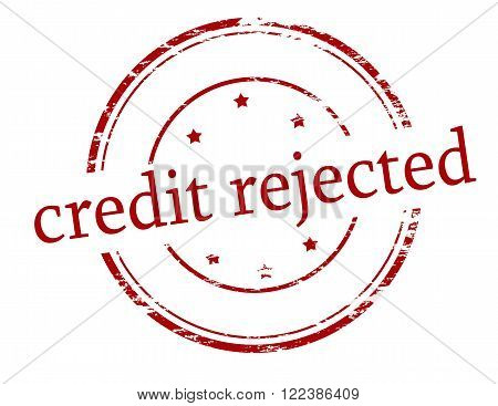 Rubber stamp with text credit rejected inside vector illustration