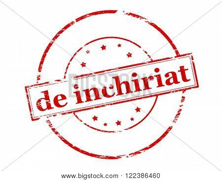 Rubber stamp with text for rent in Romanian language inside vector illustration