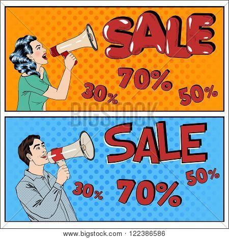 Sale Banner. Sale Billboard. Woman with Megaphone. Man with Megaphone. Great Offer. Seasonal Sale. Great Discount. Big Sale. Best Deal. Holiday Discounts. Pop Art Banner. Vector illustration
