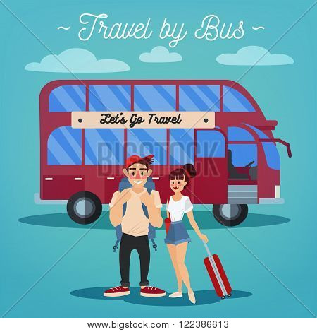 Bus Travel. Travel Banner. Tourism Industry. Active People. Girl with Baggage. Bus Tour. Man with Baggage. Happy Couple. Vector illustration. Flat Style