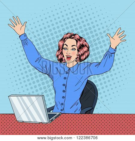 Woman with Laptop. Business Woman. Woman at Work. Happy Woman. Modern Lifestyle. Beautiful Woman. Office Life. Pop Art Banner. Vector illustration