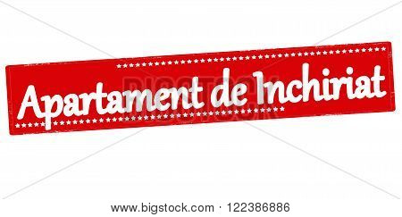 Rubber stamp with text apartment for rent in Romanian language inside vector illustration