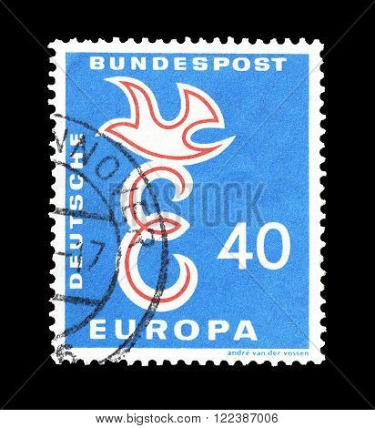 GERMANY - CIRCA 1958 : Cancelled postage stamp printed by Germany, that shows CEPT stamp.