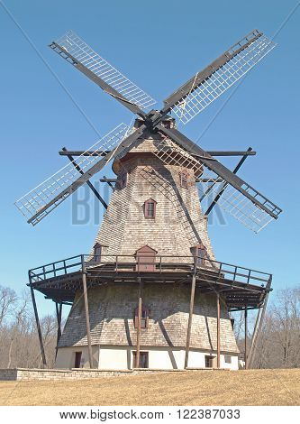 The 68-foot 5-story Fabyan Mill was built between 1850 and 1860. Restored to operate by wind energy only the Dutch windmill is located at the near Geneva, Illinois.
