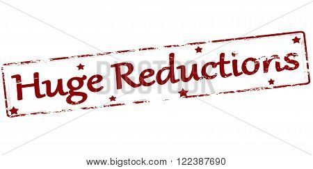 Rubber stamp with text huge reductions inside vector illustration