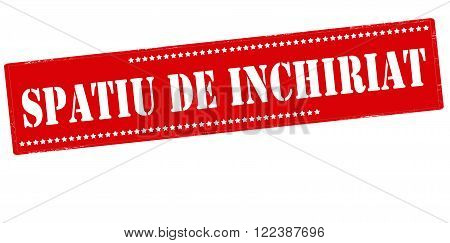 Rubber stamp with text space for rent in Romanian language inside vector illustration
