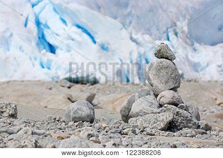 Stack of rocks near Nigardsbreen Glacier in Jostedalsbreen National Park, Norway