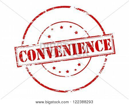 Rubber stamp with word convenience inside vector illustration