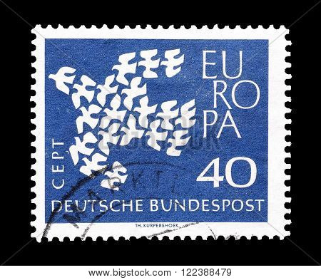 GERMANY - CIRCA 1961 : Cancelled postage stamp printed by Germany, that shows CEPT stamp.