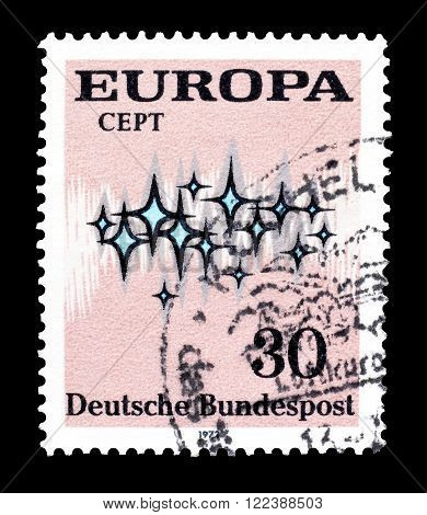 GERMANY - CIRCA 1972 : Cancelled postage stamp printed by Germany, that shows CEPT stamp.
