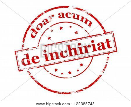 Rubber stamp with text only now for rent in Romanian language inside vector illustration