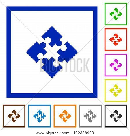 Set of color square framed modules flat icons on white background