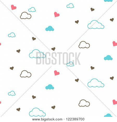 Cute seamless pattern with clouds and hearts. Light design for kids. Vector illustration for nursery and babies. Bed linen and apparel fabric.
