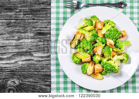 Chicken leek and Broccoli Stir-fry on a plate top view