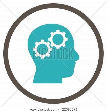 Brain Preferences vector bicolor icon. Picture style is flat brain gears rounded icon drawn with grey and cyan colors on a white background.