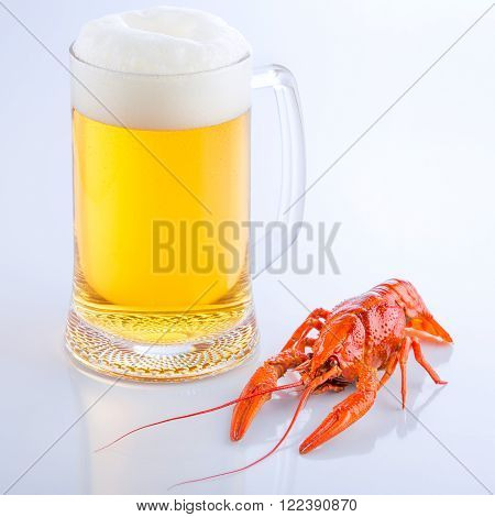 crayfish with a glass of fresh foaming beer close-up