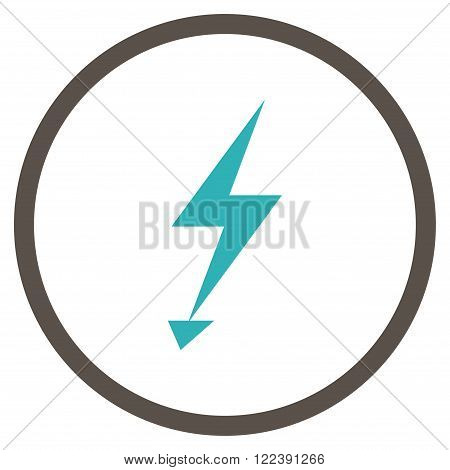 Electric Strike vector bicolor icon. Picture style is flat electric strike rounded icon drawn with grey and cyan colors on a white background.