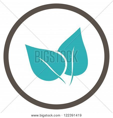 Flora Plant vector bicolor icon. Picture style is flat flora plant rounded icon drawn with grey and cyan colors on a white background.