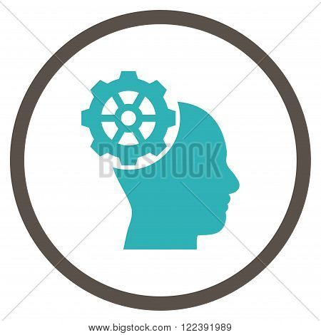 Head Gear vector bicolor icon. Picture style is flat head gear rounded icon drawn with grey and cyan colors on a white background.