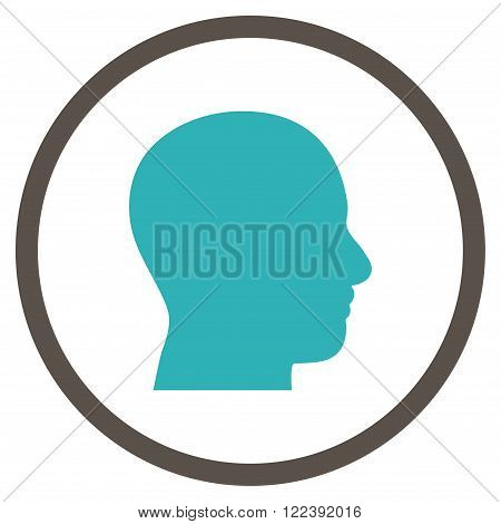 Head Profile vector bicolor icon. Picture style is flat head profile rounded icon drawn with grey and cyan colors on a white background.