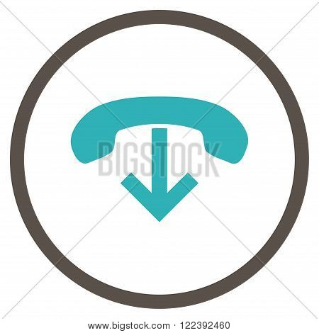 Phone Hang Up vector bicolor icon. Picture style is flat phone hang up rounded icon drawn with grey and cyan colors on a white background.